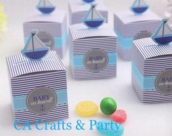 Nautical favor boxes 12PCS- Sailboat favor boxes- Baby On Board favor boxes- Nautical baby shower- Nautical candy boxes.