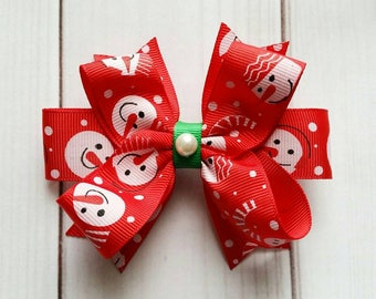 Snowman Hair Bows/Snowman Hair Clips/Christmas Hair Bows/Christmas Hair Clips/Holiday Hair Bows/Xmas Hair Bows/December Hair Bows/Xmas Bows