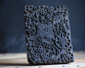 Vintage Indian Hand Carved Wood Printing Block Antique Primitive Wallpaper and Textile Stamp  with Intricate Design.