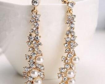 New Fashion Woman Lady Elegant Jewelry Rhinestone Pearl Long Earrings Ear Stud