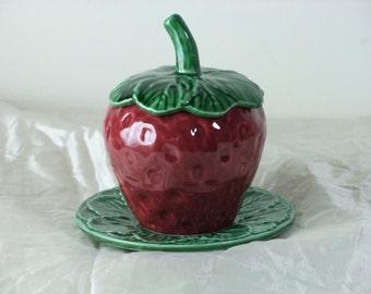 Super Cute Vintage French Jam Pot Raspberry or Strawberry Majolica Ceramic