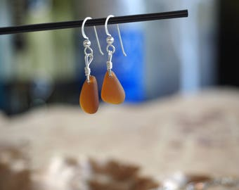 Seaglass+ Stirling silver dangly earrings