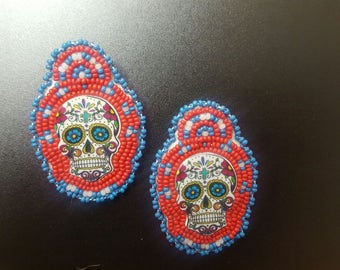 Beaded Sugar Skull Earrings