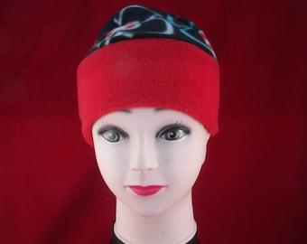 Girls fleece hat bright red band