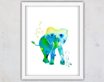 Animal Wall Decor Nursery, Elephant Watercolor Printable Print, Elephant Poster, Watercolor Art Print, Digital Download Animal Art, Kids Art