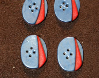 4 original art deco red and blue buttons vintage