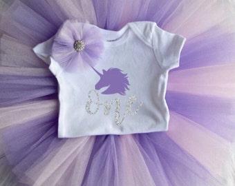 first birthday unicorn onesie tutu set