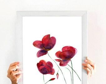 Poppy. Red Flowers. Nature art. Watercolor Art Print. Modern Wall Art. Home Decor. Digital Art.