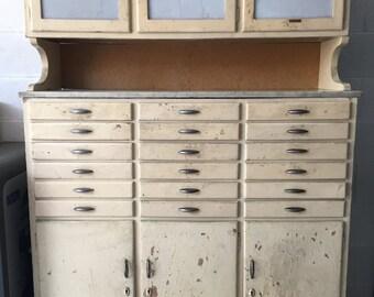 Dental first ' 900 Italian sideboard with Carrara marble top-Original Italian Dentist dresser from ' 20-Carrara marble level