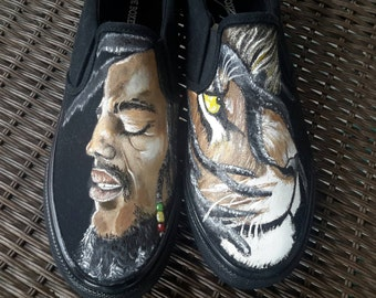 Bob Marley hand painted shoes