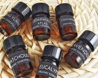 Organic Essential Oil Kit ~ PICK ANY 2! ~ Plus a (1 oz) Amber Glass Bottle for Blending! / Healing Aromatherapy / DIY Projects!