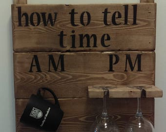 """Rustic barn board sign, """"how to tell time"""", hand made from new and re-claimed wood, 1""""x16.5""""x18.5"""""""