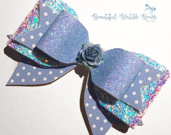 Blue glitter polka dot hair bow, spots, flower, headband, girl/baby