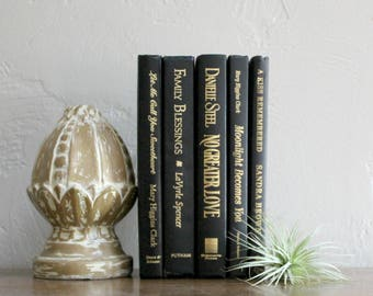 Decorative Books Black Books, Black and Gold Book Set Bookshelf Decor, Wedding Table Decor, Book Collection, Bookcase Decor, Instant Library