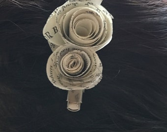 Book Page Flower Hair Clip