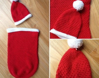 Newborn Christmas cocoon and matching hat/newborn photography prop/christmas/