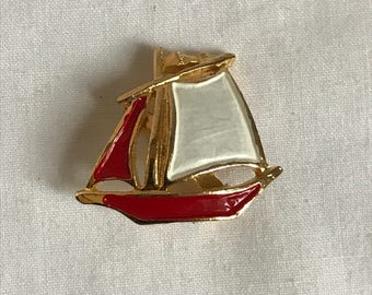 Vintage Sail Boat Brooch, Enamel Brooch, Pin, Nautical, Ocean, Sea, Fashion, Retro, Estate Jewelry