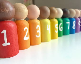 Math Gnomes, Counting Peg Dolls - Waldorf Gnomes - Montessori Learning Materials - Preschool Learning - Educational Wooden Toy