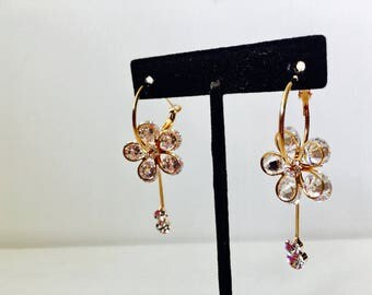 Flower Hoop Earrings,Flower Earrings| Flower Drop Earrings,Bridal Earrings,Wedding Earrings,CZ Earrings,Large Hoop Earrings,Earrings Women's