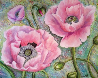 """Poppies, acrylic on watercolour paper 11"""" x 14"""". Hand painted artwork."""