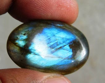 Ovel Shape Blue Labradorite Cabochon Genuine Handmade Gemstone For Jewelry Making - 36.30ct.(31X20X7)mm ( #657)