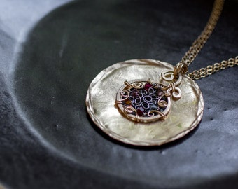 14k gold filled pendant necklace, gold pendant necklace, round pendant necklace, oxidized silver filigree necklace, Swarovski necklace