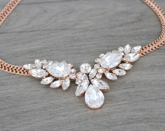 Rose gold necklace, Swarovski crystal necklace, Bridal necklace, Bridal jewelry, Statement necklace, Wedding necklace, Vintage style wedding