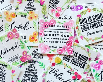 Floral wreath Bible verse cards - Set of 4