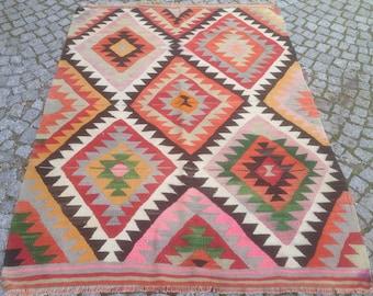 Turkish Kilim rug, Bohemian Rug, vintage rug, turkish Kilim, Turkish Rug, handwoven rugs, vintage kilim rug, Small Kilim Rug, Rugs 3.5x5