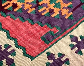 "Vintage kilim, Flat Weave Vintage Handmade Turkish Kilim Rug, kilim Runner, Unique Interesting Design Boho Rug Runner 2'x5'9"", kitchen kilim"