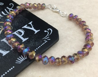 Amethyst Crystal Bracelet, Amethyst Bracelet, Venezia Crystal Bracelet,