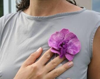 pretty girl, pretty brooch, Orchid brooch, felt brooch, felted blue, brooch, PIN, felted, orchid brooch in wool