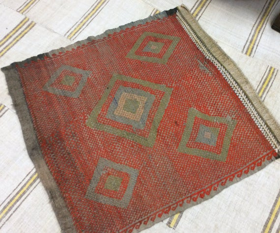 Small Square Turkish Rug Vintage Handmade Kilim Rug Bohemian
