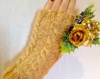 Honey Cabled Fingerless Gloves Knitted Fall Gloves