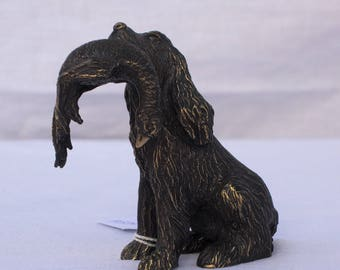 Statuette bronze cocker with pheasant / Cocker Spaniel bronze