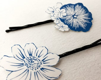 Lot of 20 gifts for guests, wedding and party, blue flower Bobby pin, hair decoration