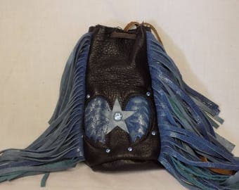 Blue Motorcycle Purse with Double Fringe, Star and Wings