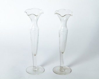 Pair of Vintage Glass Candle Holders