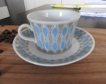 Upsala Ekeby Karlskrona  Sweden  coffee cup and saucer, mid-century modern