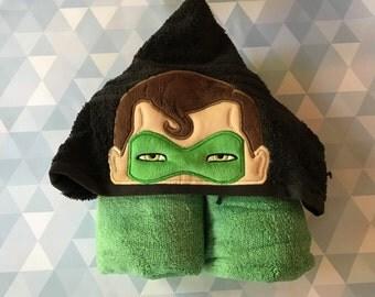 Green lantern hooded towel