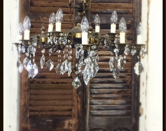 Vintage Brass and Crystal Cherub Chandelier from Italy