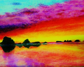 Greeting Card 5 Pack Your Choice Oregon coast ocean sea  beach sunset rocks painting blank card 5X7 SHIPS FREE