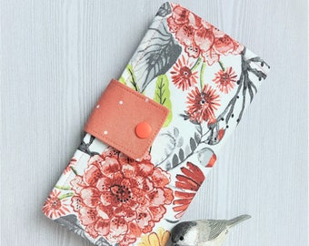 Coral peach blooms, Womens wallet, slim clutch wallet, bifold fabric wallet, womans credit card wallet, handmade wallet, gift idea
