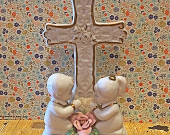 Adorable Praying Children with Cross and Rose