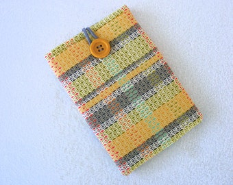 "Yellow Plaid, Mini IPad Case, IPad Mini Cover, Kindle Case, Kindle Cover, Nook Tablet Cover, Nook Wifi Case, Kindle Fire Cover, 9"" x 5 3/4"""
