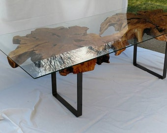 Double Birch Burl Coffee Table with Glass Top