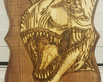 T-Rex wood burned plaque