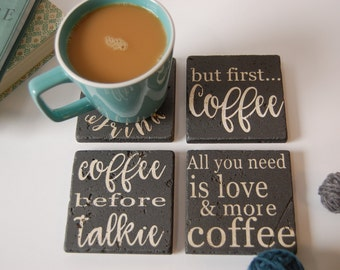 Coffee Coasters/Set of 4/Stone Coasters/Coffee Sayings/Cork Backed Coasters/Housewarming Present/Coffee/Present