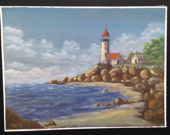 Original Hand Painted Acrylic Painting Out Door Scenery Landscape  Lighthouse Sea Gulls Water