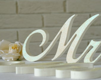Wooden Letters Mr & Mrs  IVORY Glitter,  Mr Mrs wedding signs, Wooden Sign, mr and mrs sign sweetheart table,  sign mrs and mr wooden letter